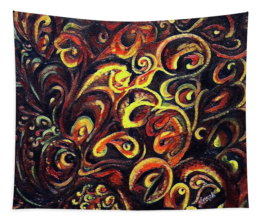 Aum Tapestry featuring the painting In Search Of Ultimate Truth by Harsh Malik