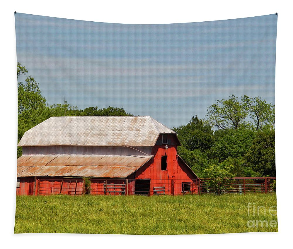 Barn Tapestry featuring the photograph In The Country by Linda James