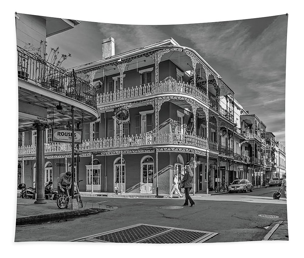 French Quarter Tapestry featuring the photograph In The French Quarter - 3 Bw by Steve Harrington