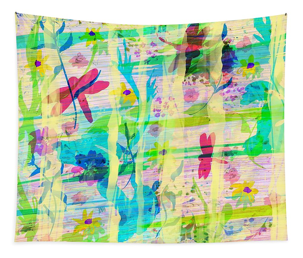 Abstract Tapestry featuring the digital art In the Garden by William Russell Nowicki
