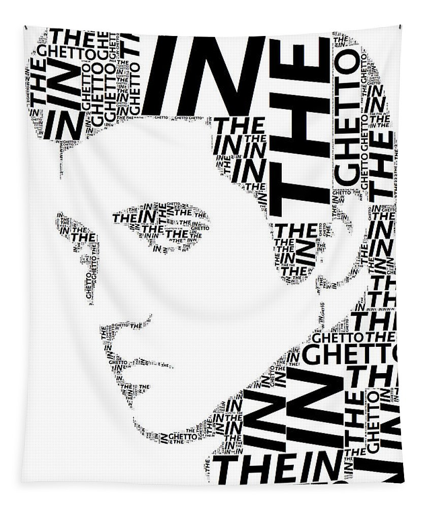 Alicegipsonphotographs Tapestry featuring the digital art In The Ghetto Elvis Wordart by Alice Gipson