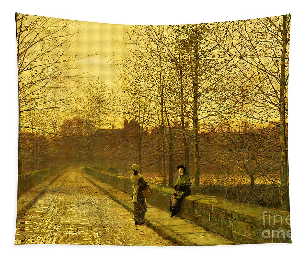 The Tapestry featuring the painting In The Golden Gloaming by John Atkinson Grimshaw