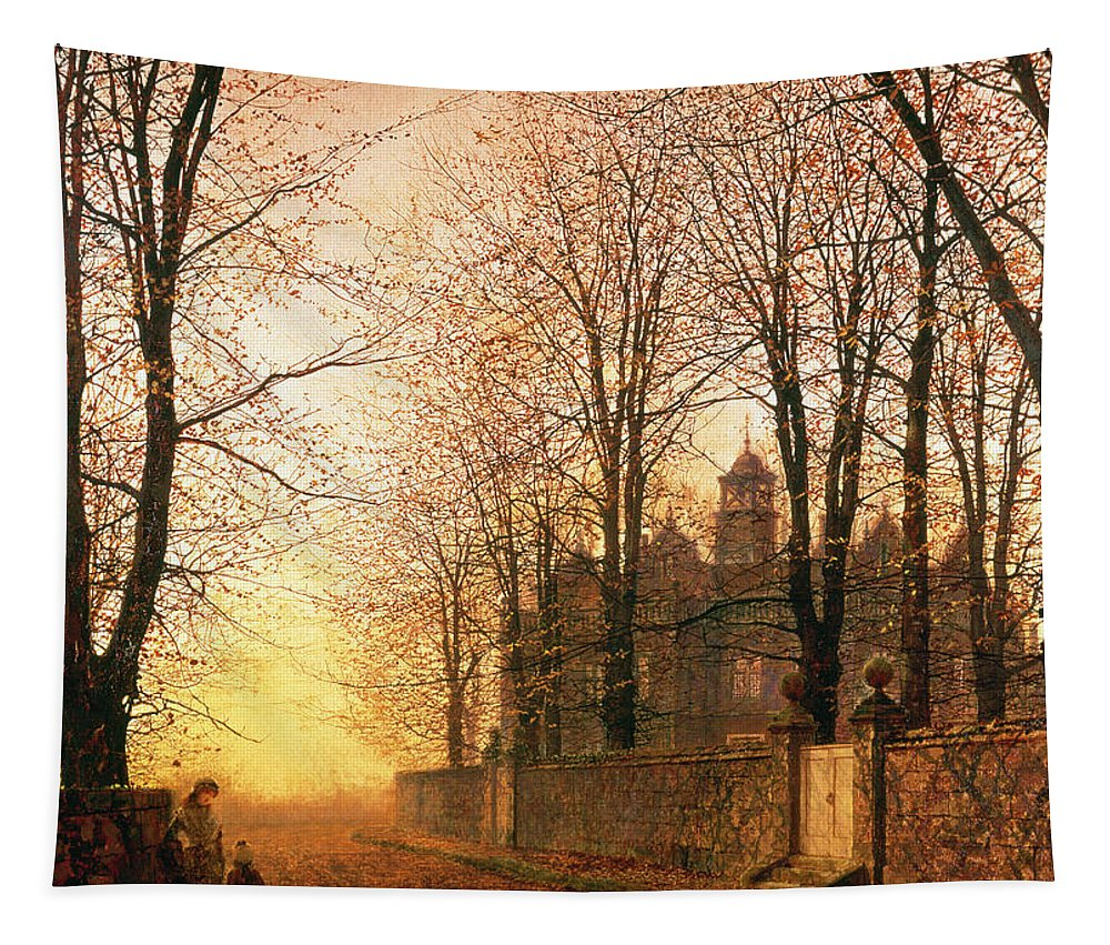 In The Golden Olden Time Tapestry featuring the painting In The Golden Olden Time by John Atkinson Grimshaw