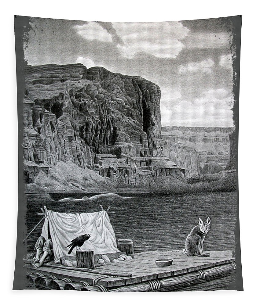 Grand Canyon Tapestry featuring the drawing In The Grand Canyon by Miro Gradinscak