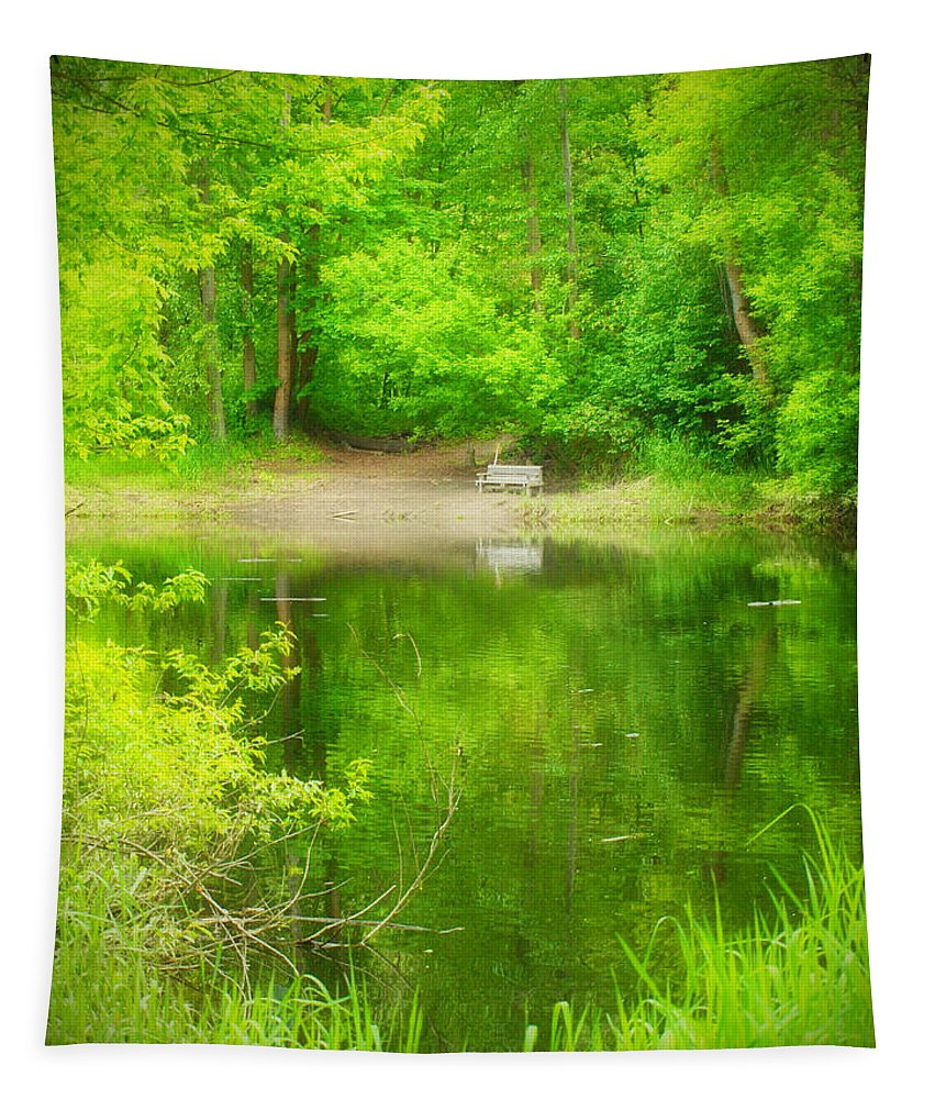 Bench Tapestry featuring the photograph In The Green by Tara Turner