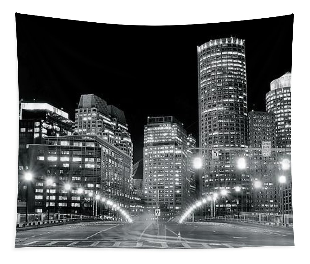 Boston Tapestry featuring the photograph In The Heart Of A Black And White Town by Frozen in Time Fine Art Photography
