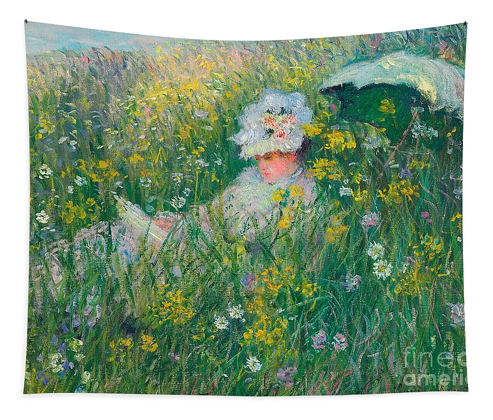 Claude Monet Tapestry featuring the painting In The Meadow by Claude Monet