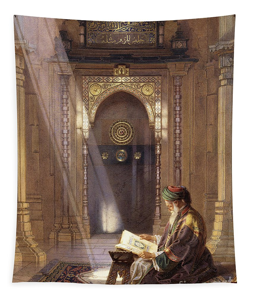 Imam Tapestry featuring the painting In The Mosque by Carl Friedrich Heinrich Werner
