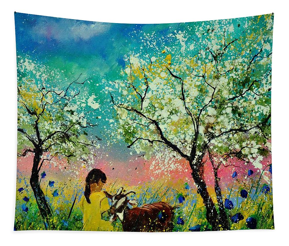 Landscape Tapestry featuring the painting In the orchard by Pol Ledent