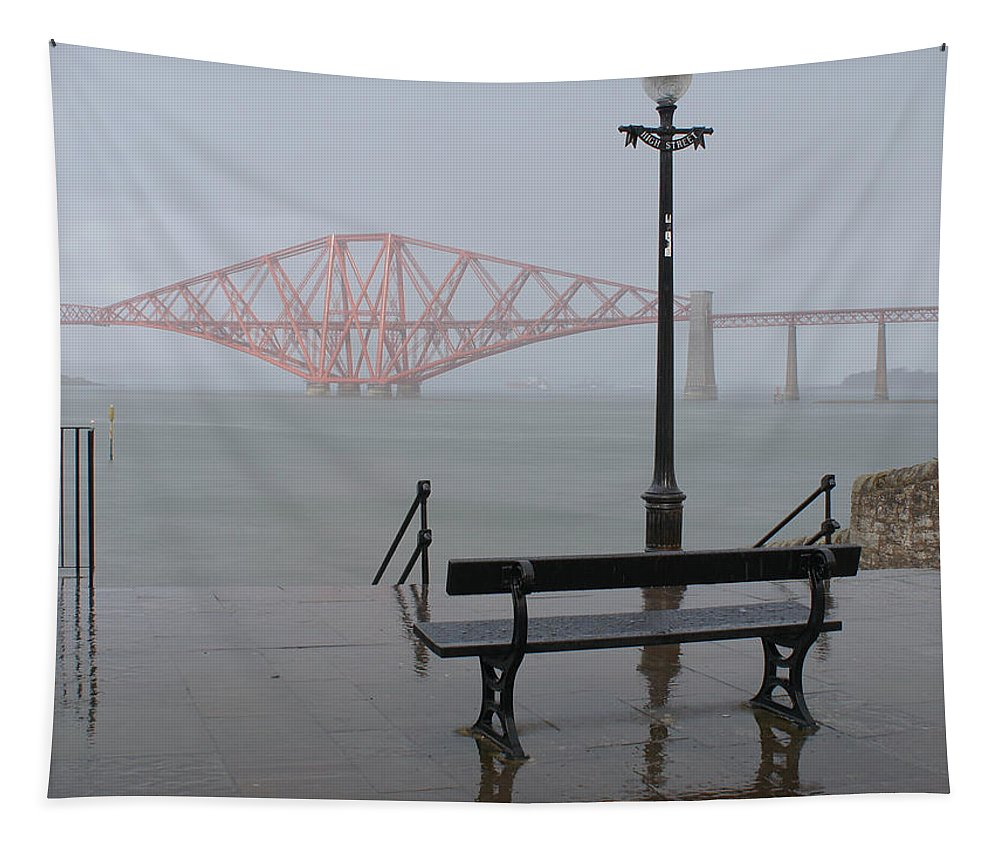 Forth Rail Bridge Tapestry featuring the photograph In The Rain by Elena Perelman