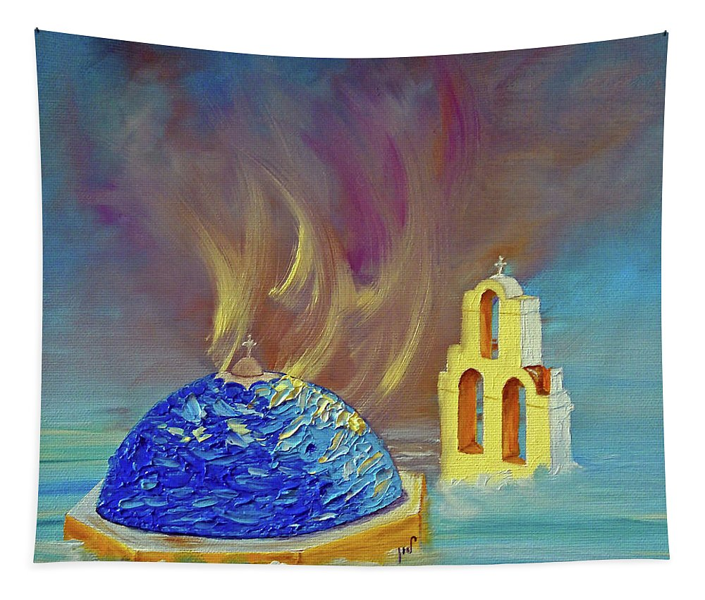 Seascape Tapestry featuring the painting In The Sky by Maria Woithofer