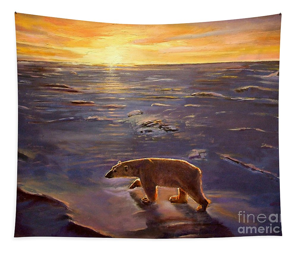 Polar Bear; Arctic; North Pole; Sunset; Setting Sun; Global Warming; Climate Change; Environmental; Melting Ice; Solitary; Deserted; Bear; Ice Tapestry featuring the painting In The Wilderness by Kevin Parrish
