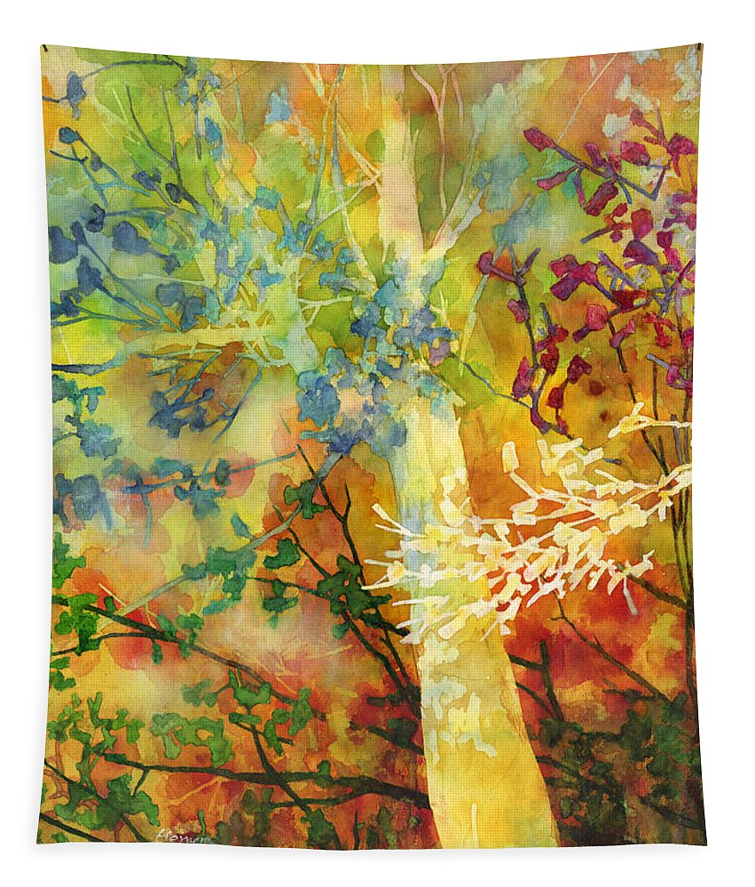 Wood Tapestry featuring the painting In The Woods by Hailey E Herrera