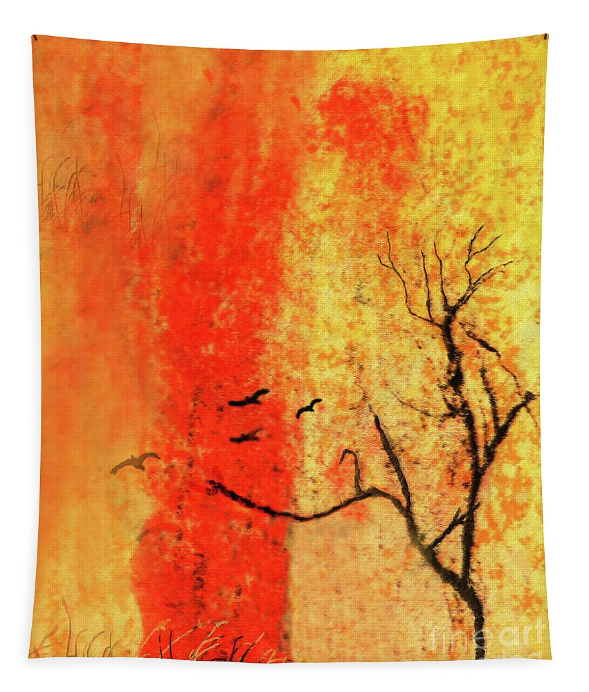 Abstract Tapestry featuring the mixed media In The Zen by Sharon Eng