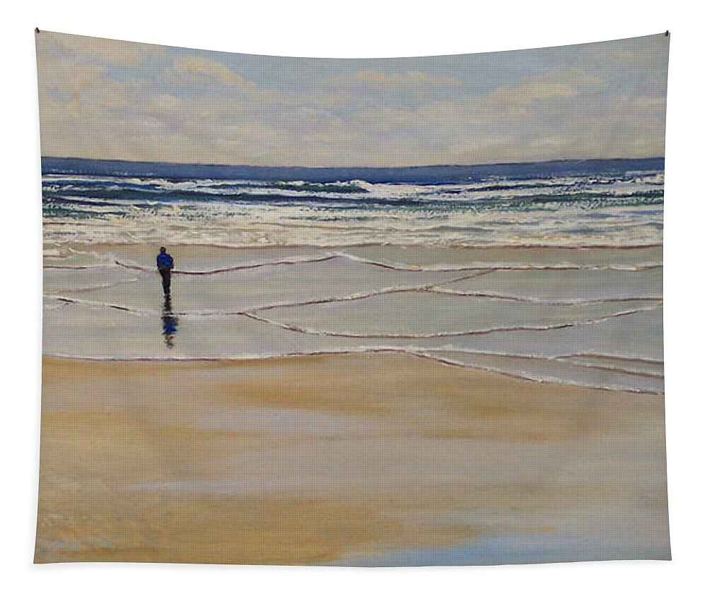 Beach Walk Tapestry featuring the painting Incoming Tide by Frank Wilson