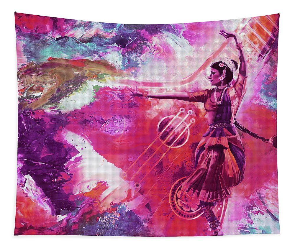 Indian Kathak Dance Tapestry featuring the painting Indian Kathak Dance 87y by Gull G