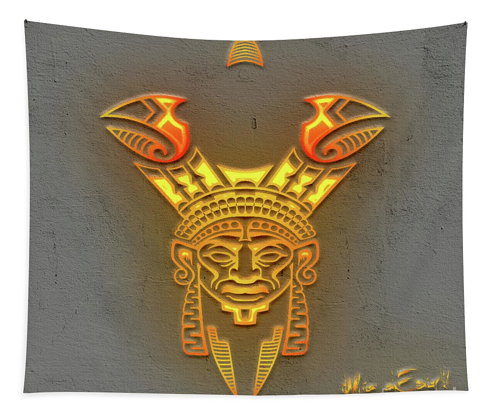 Totem Tapestry featuring the digital art Indian Totem by Maria Astedt
