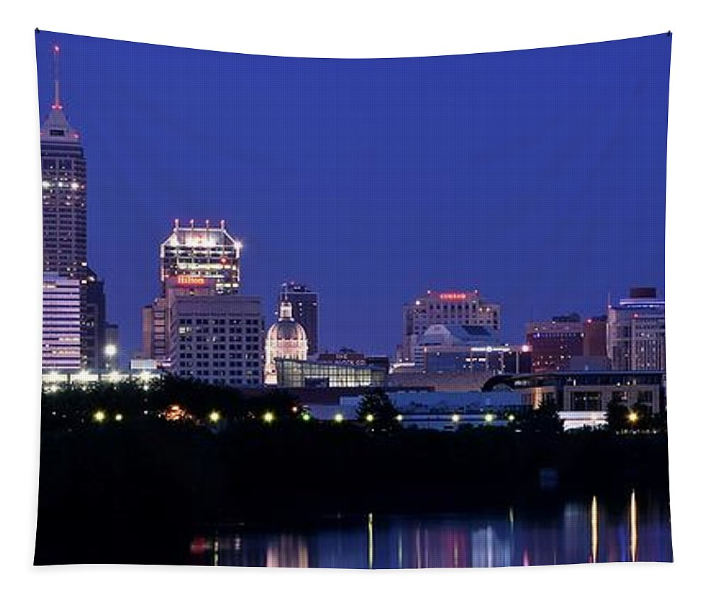 Indianapolis Tapestry featuring the photograph Indianapolis Panorama by Frozen in Time Fine Art Photography