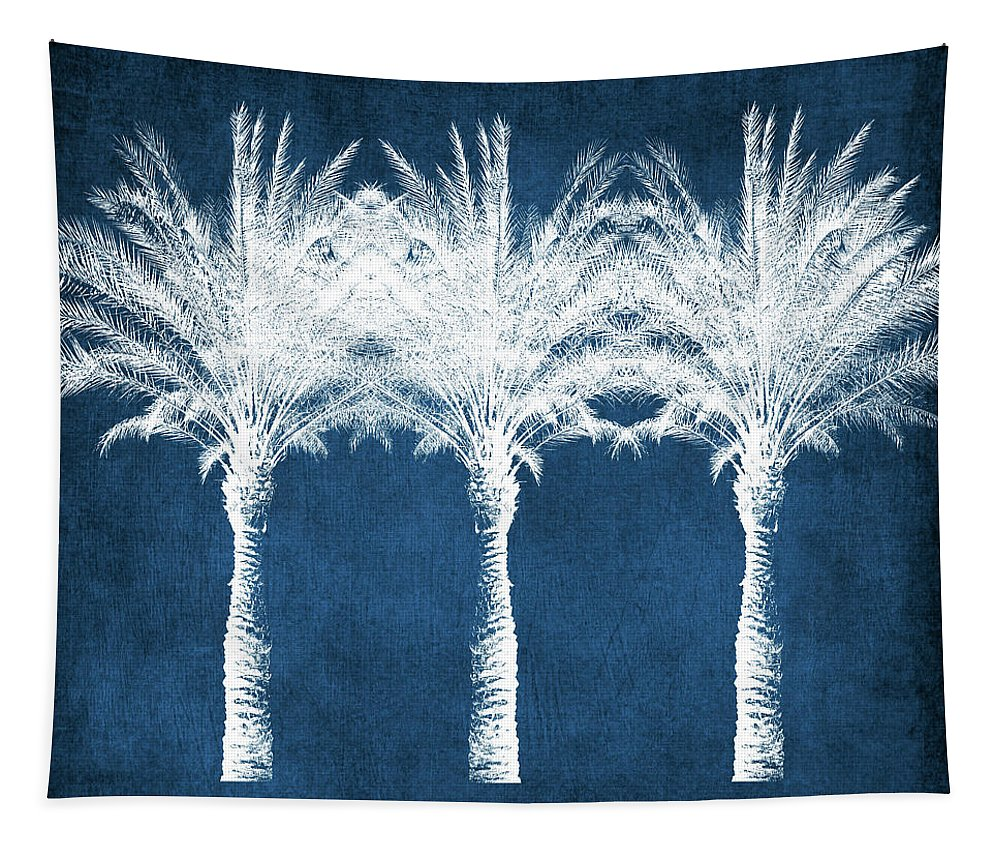 Palm Tree Tapestry featuring the mixed media Indigo And White Palm Trees- Art by Linda Woods by Linda Woods