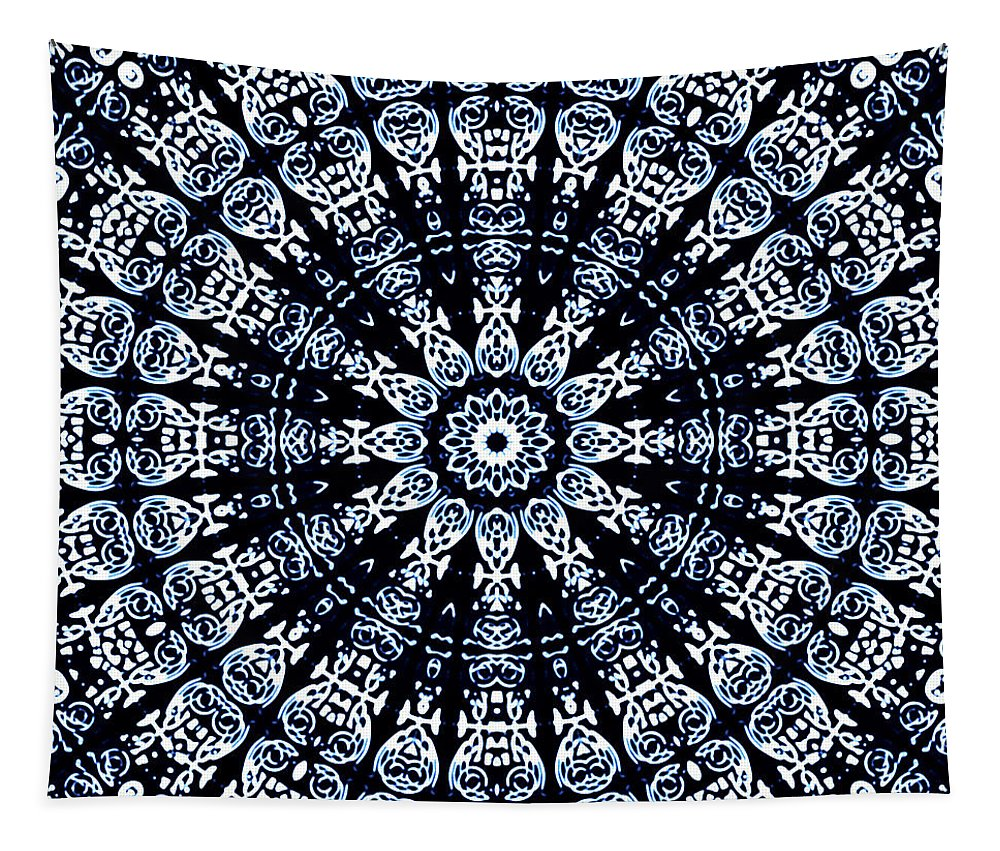 Flow Tapestry featuring the digital art Indigo Flow Blue Kaleidoscope by Joy McKenzie