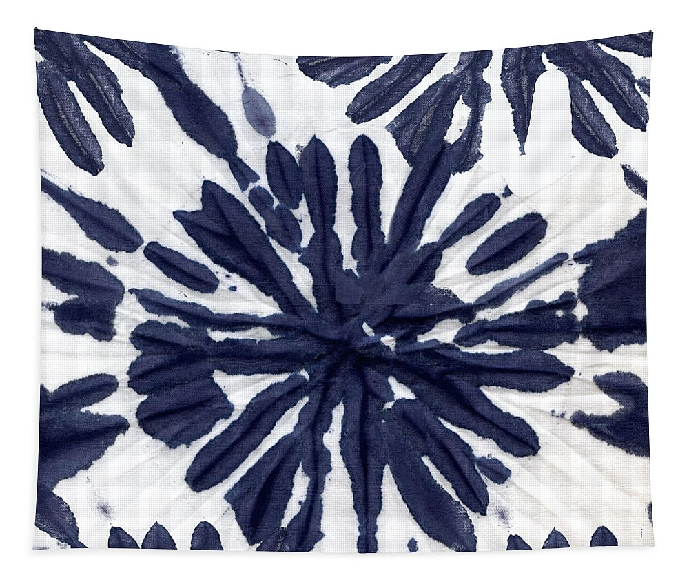 Tie Dye Tapestry featuring the painting Indigo I by Mindy Sommers