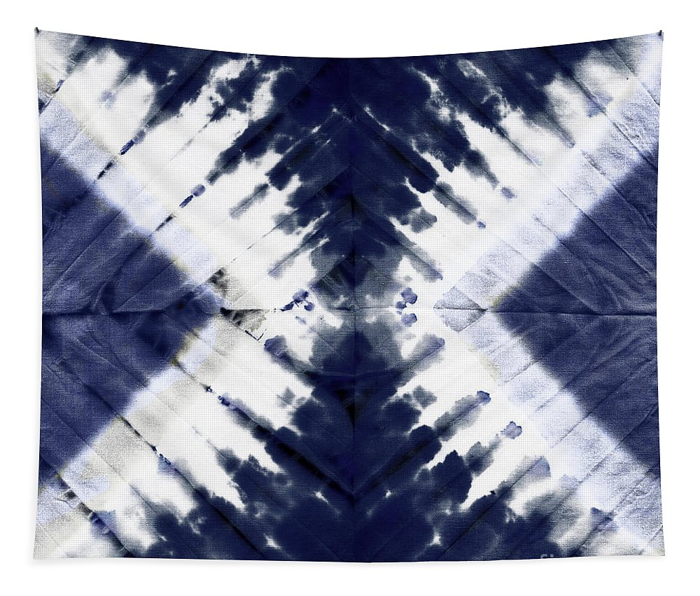 Tie Dye Tapestry featuring the painting Indigo II by Mindy Sommers