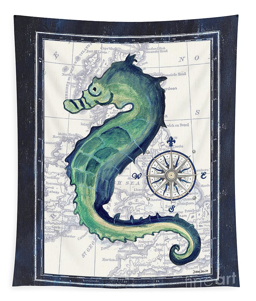 Sea Horse Tapestry featuring the painting Indigo Maritime 2 by Debbie DeWitt