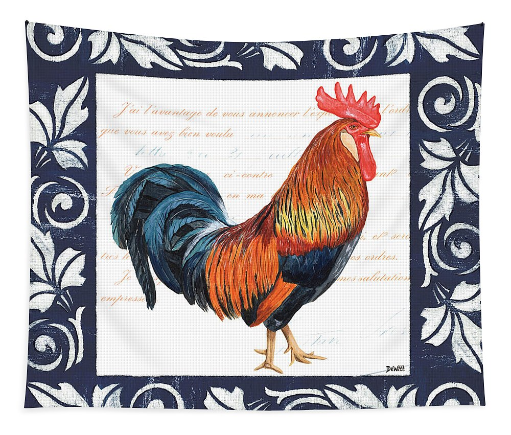 Rooster Tapestry featuring the painting Indigo Rooster 1 by Debbie DeWitt