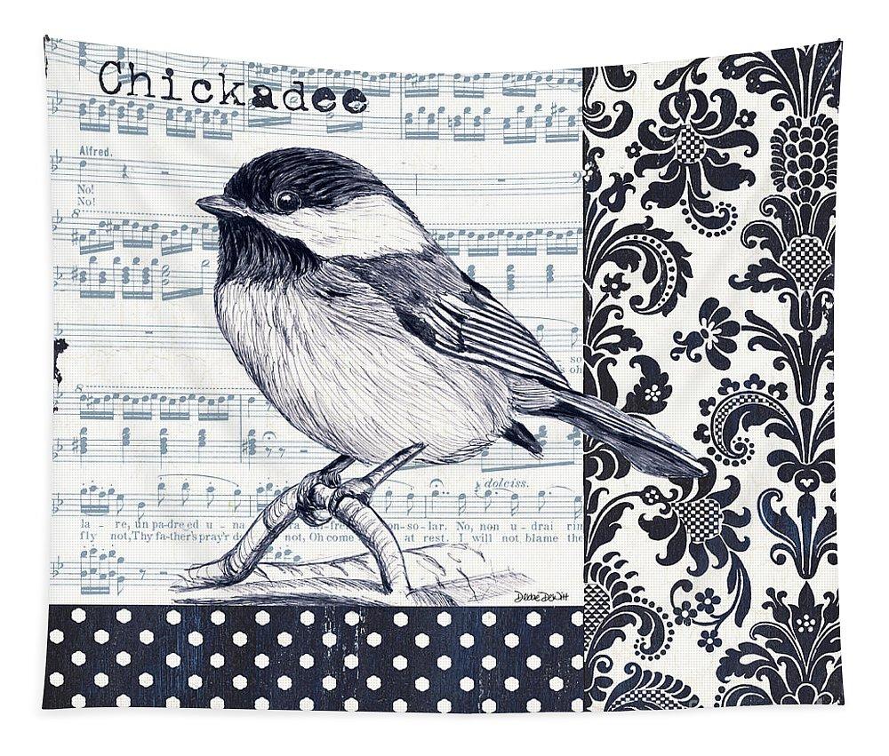 Bird Tapestry featuring the painting Indigo Vintage Songbird 2 by Debbie DeWitt