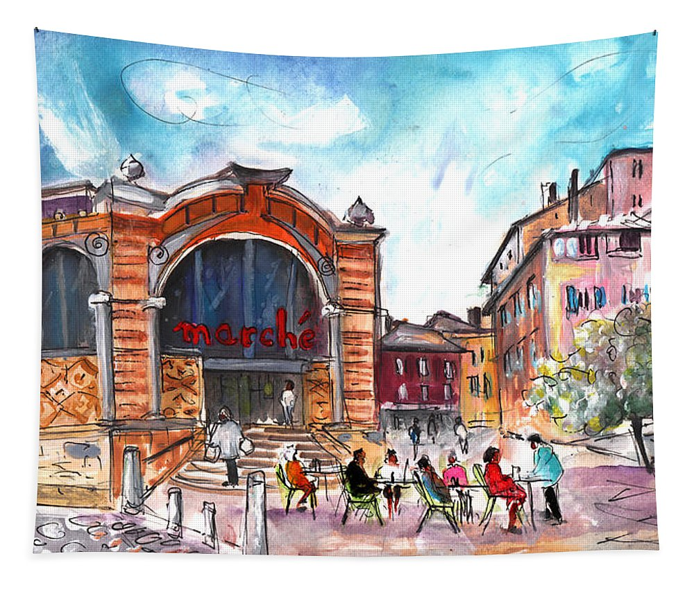 Travel Tapestry featuring the painting Indoor Market In Albi by Miki De Goodaboom