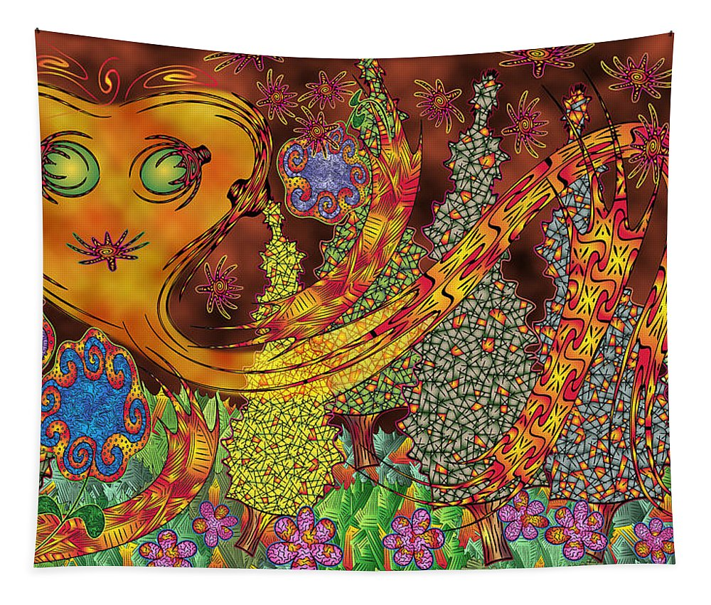 Fiery Glow Tapestry featuring the digital art Inferno by Becky Titus
