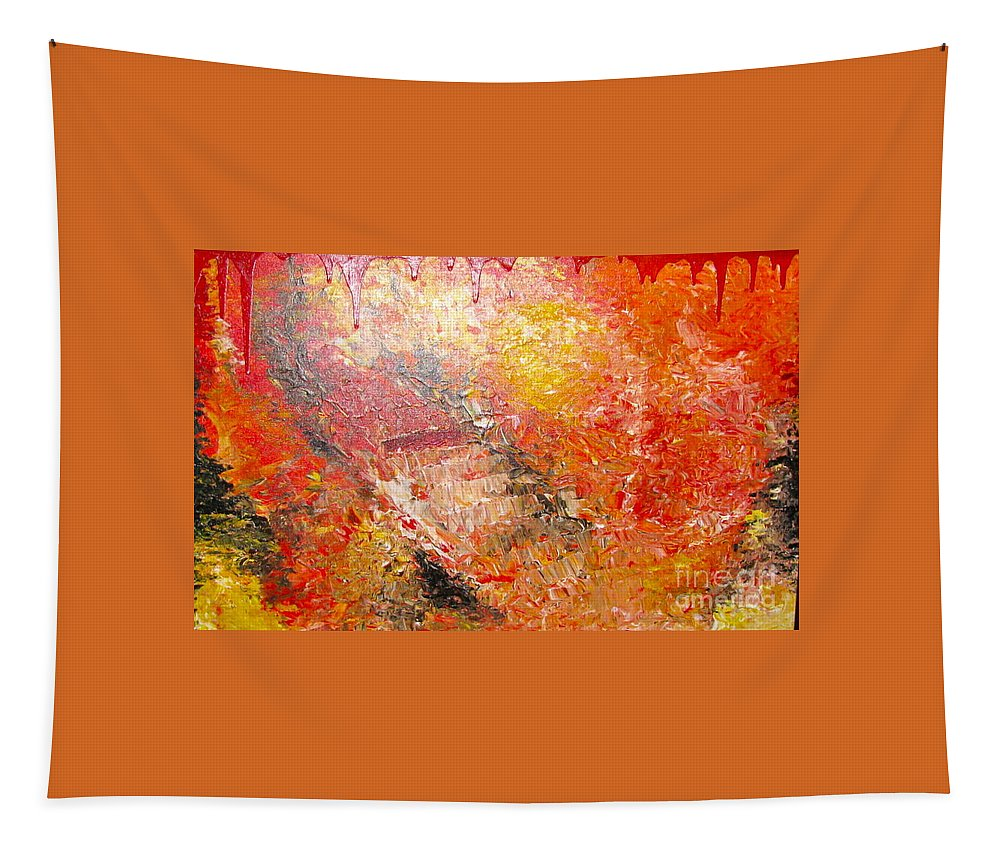 Red Tapestry featuring the painting Inferno by Jacqueline Athmann