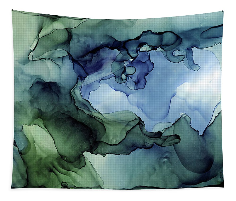 Ink Abstract Tapestry featuring the painting Ink Abstract Painting Blues Greens by Olga Shvartsur