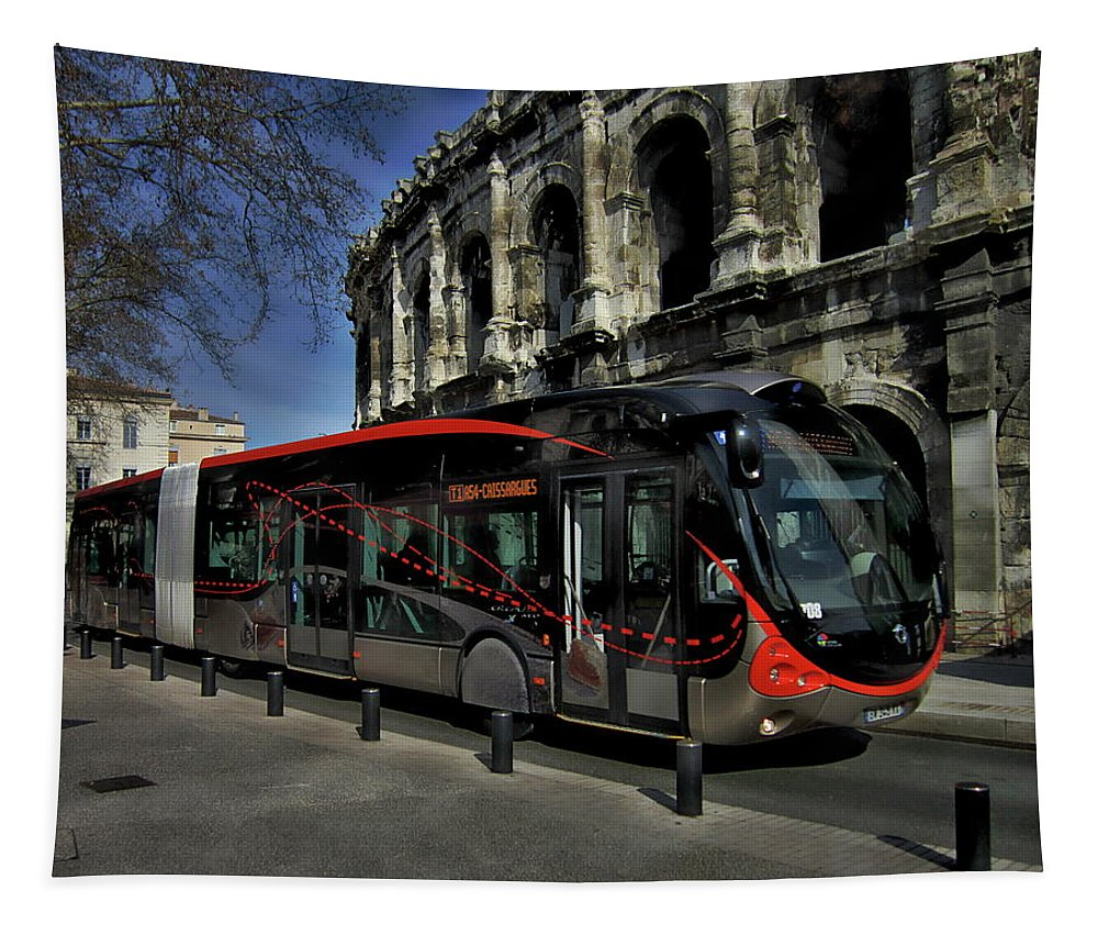 Nimes Tapestry featuring the photograph Inner City Tram by Anthony Dezenzio