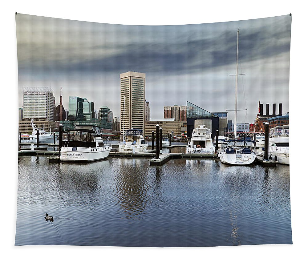 2d Tapestry featuring the photograph Inner Harbor Skyline by Brian Wallace