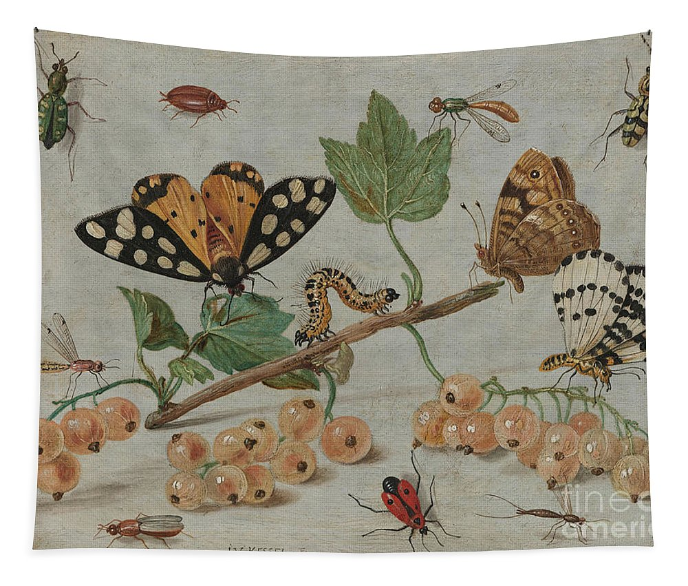 Flemish Tapestry featuring the painting Insects And Fruit, by Jan Van Kessel