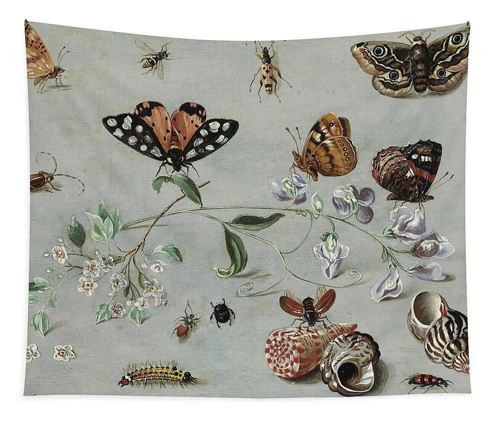 Jan Tapestry featuring the painting Insects, Butterflies And Clams by Jan van Kessel