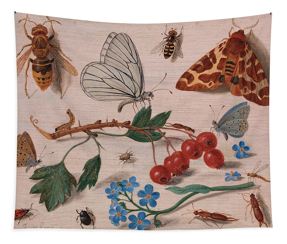 Wildlife Tapestry featuring the painting Insects With Common Hawthorn And Forget-me-not by Jan van Kessel the Elder
