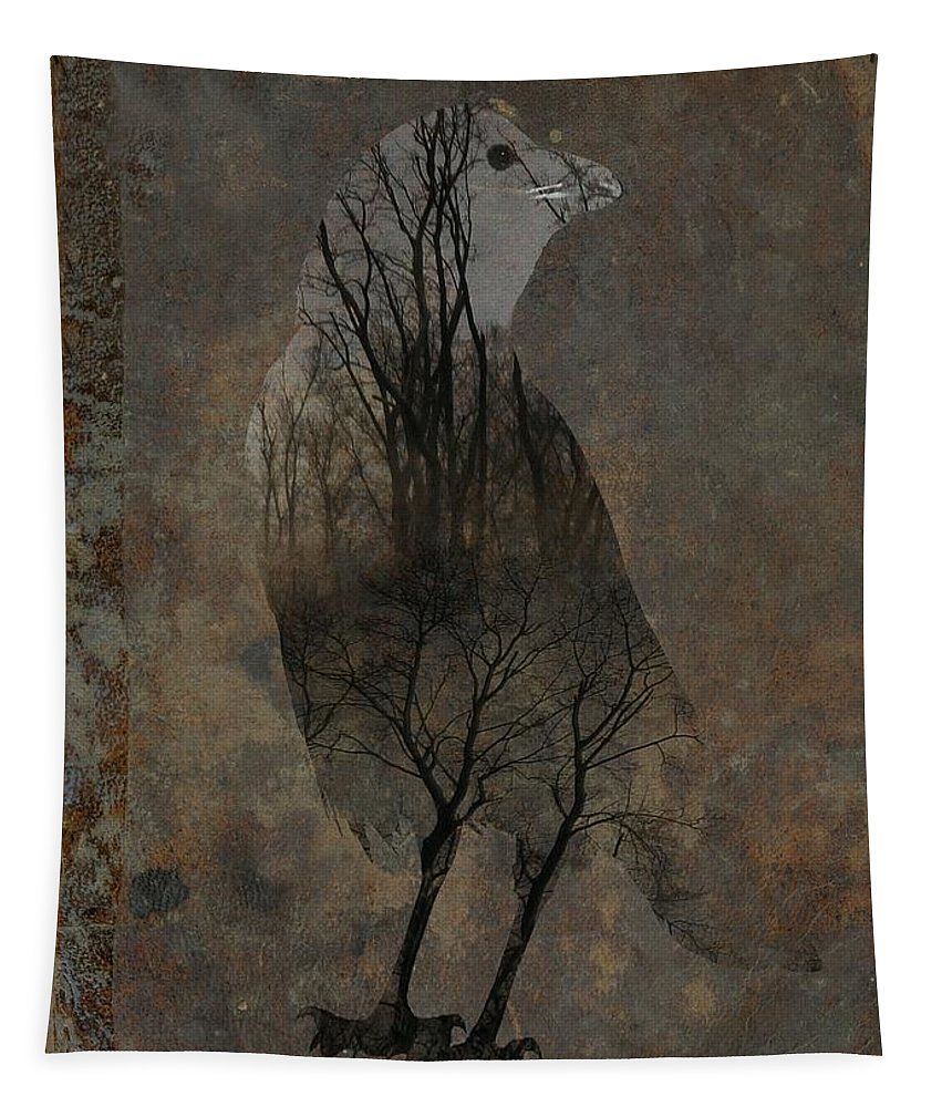 Crow Aged Art Tapestry featuring the digital art Inside Crow by Gothicrow Images