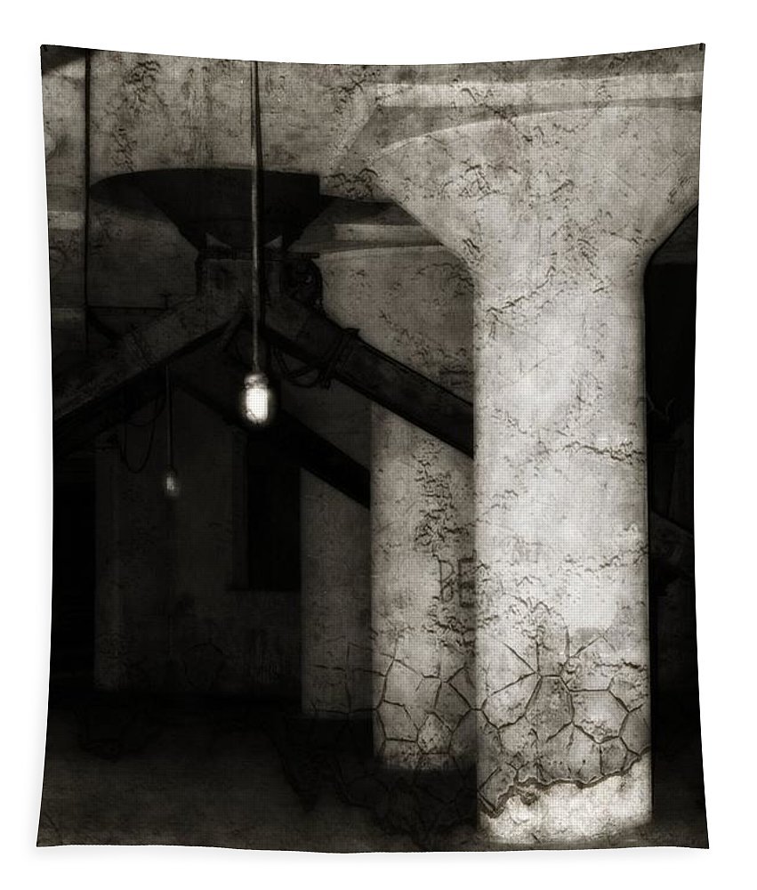 Old Factory Tapestry featuring the photograph Inside Empty Dark Building With Light Bulbs Lit by Gothicrow Images