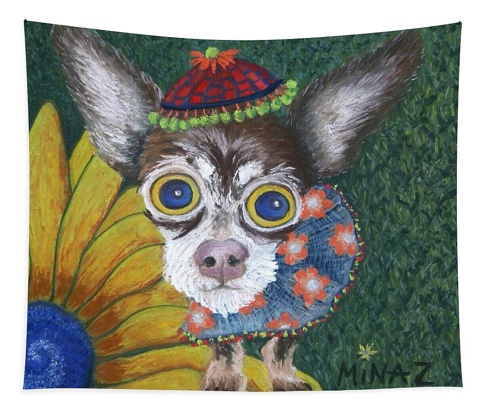Chihuahua Tapestry featuring the painting Inside Van Gogh's Garden Sits Sunflower Sally by Minaz Jantz