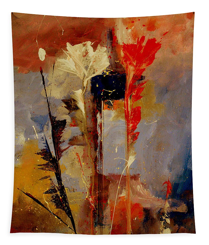 Abstract Botanical Floral Flowers Color Red Pink Blue White Yellow Orange Purple Tapestry featuring the painting Inspire Me by Ruth Palmer