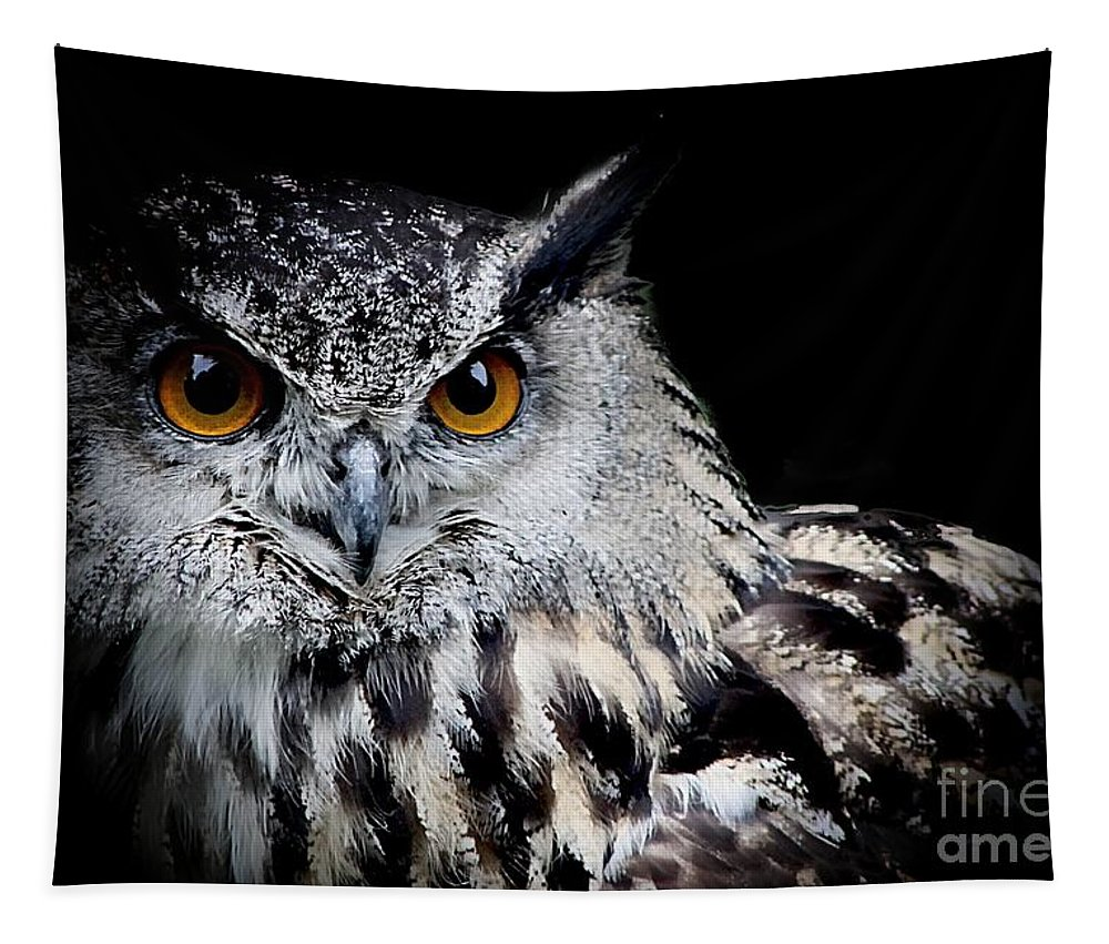 Eagle Owl Tapestry featuring the photograph Intensity by Clare Bevan