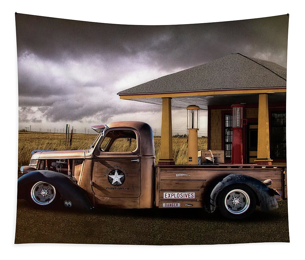International Tapestry featuring the photograph International Explosives Truck by Nick Gray
