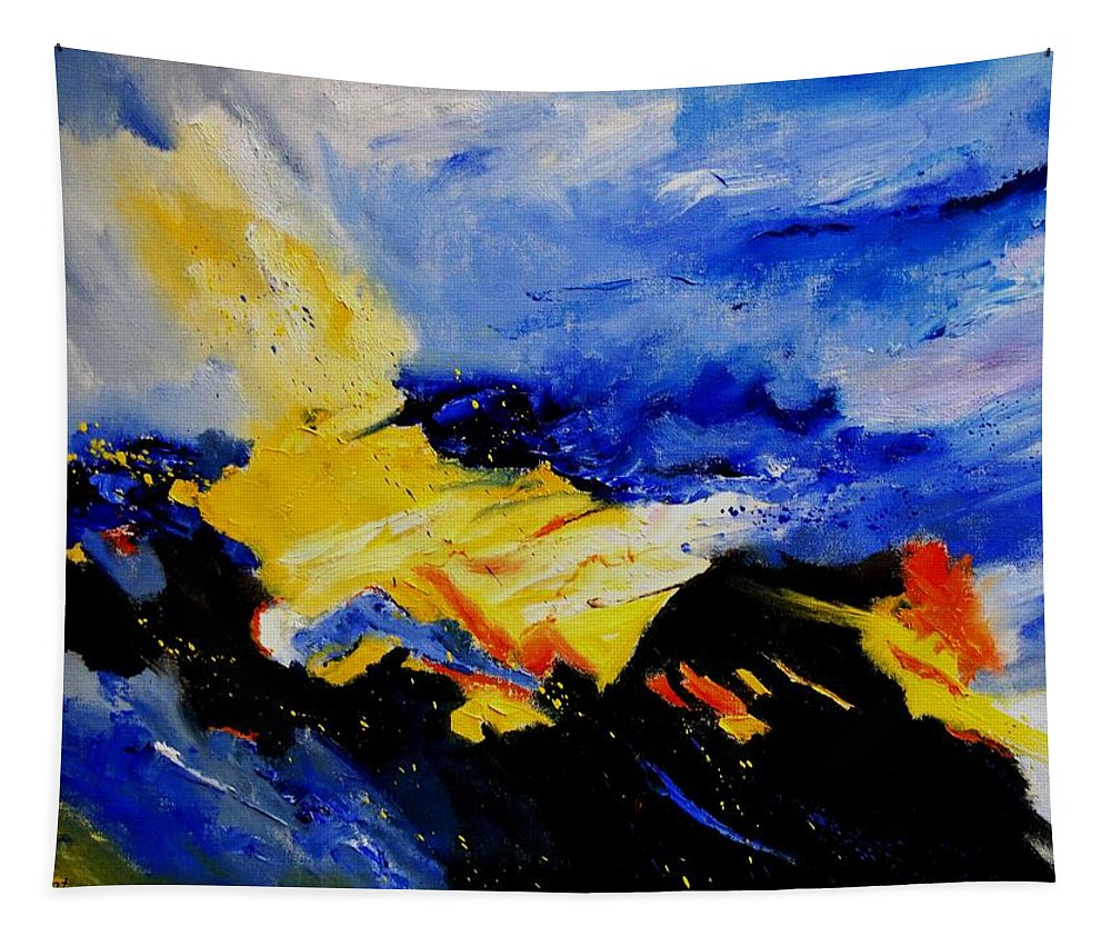 Abstract Tapestry featuring the painting Interstellar Overdrive 2 by Pol Ledent