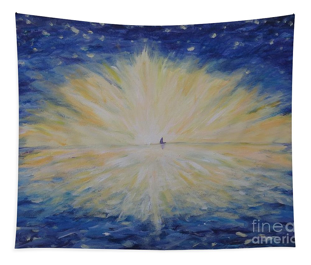 Blue Tapestry featuring the painting Into Dawn by CE Dill