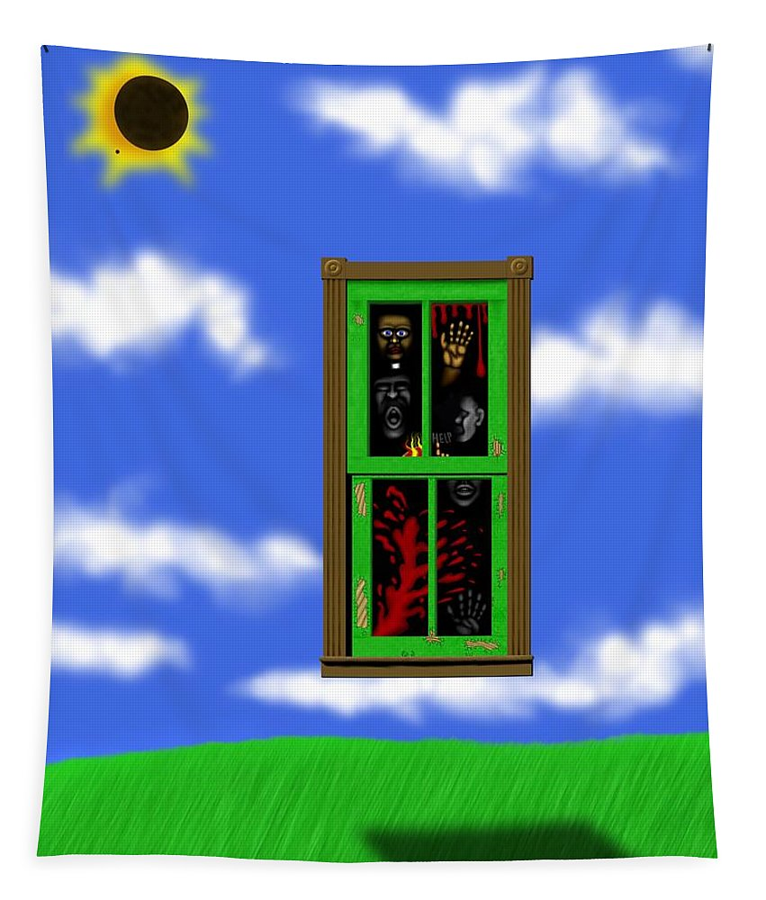 Surrealism Tapestry featuring the digital art Into The Green Window by Robert Morin