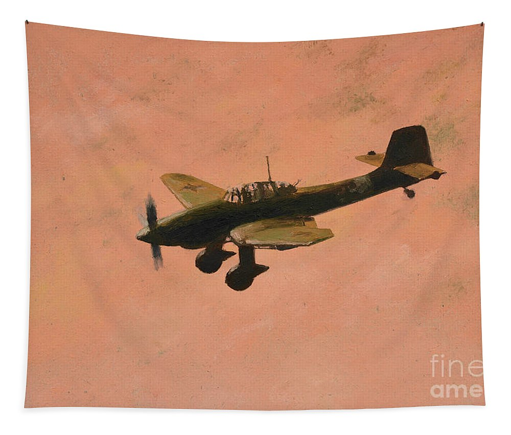 Luftwaffe Tapestry featuring the painting Into The Red by Oleg Konin