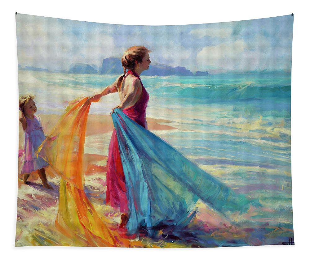 Coast Tapestry featuring the painting Into The Surf by Steve Henderson