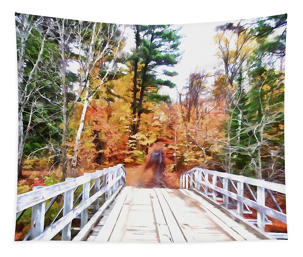 Ld Bridge Tapestry featuring the digital art Into The Woods by Leslie Montgomery